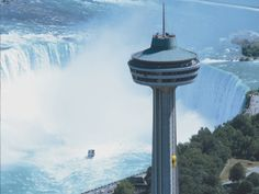 Skylon Tower overlooking Niagra Falls in Canada. Yes, I did eat dinner at this revolving restaurant!!