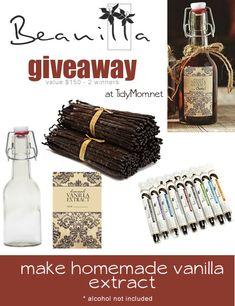 Beanilla Vanilla Giveaway at TidyMom Vanilla Extract Alcohol, Vanilla Extract Recipe, Homemade Drain Cleaner, Madagascar Vanilla Beans, House Gifts, Edible Gifts, Jar Gifts, Homemade Gifts, Holiday Gifts