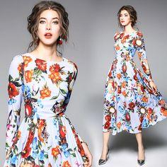 2018 Fashion Allover Flower Print Women Long Maxi Dress Fit And Flare Elegant Ch England Fashion, Floral Fashion, Retro Dress, Fashion Sketches, Fashion Outfits, Womens Fashion, Fit And Flare, Spring Summer Fashion, Clothes