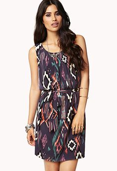 Sleek Southwestern Shift Dress w/ Belt | FOREVER21 - 2078931172
