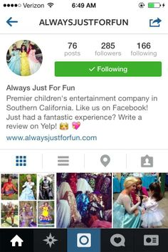 Hello everyone! Find us on Instagram @Alwaysjustforfun & tag us in your party photos, we love to see all your fun pictures with our characters!