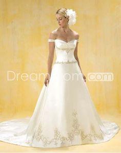A-Line/Princess Off-the-shoulder Chapel Train Satin wedding dress for brides 2014 style(WDA0388)