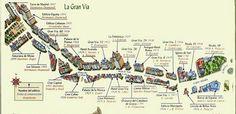 Mapa de edificios emblemáticos de la Gran Vía en Madrid