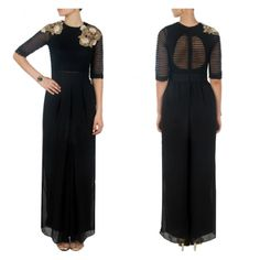 Bollywood Replica - Designer Embroidered Black Party Wear Jumpsuit- S140( SIA-S-Series)