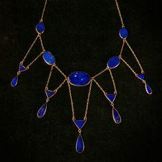 1920s Art Deco Lapis Lazuli Necklace, 14K Gold.