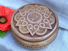 Ring box Jewelry box Wooden box Carved wood box by HappyFlying, $55.00