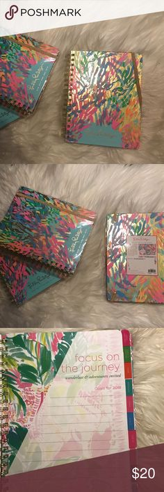 Lilly Pulitzer 17 Month Medium Planner 2017-2018 **BRAND NEW** 2 sticker pages and a designed pocket included Gold foil and neon accents Gold elastic closure Gold spiral Measures at 5 w x 8 1/4 h inches  These useful and unique daily agendas are full of frisky fun! The colored mylar tabs make for happy planning. Complete with weekly and monthly pages featuring painted lilly pulitzer® prints, dates to remember, address pages, notes, and new 5x5 original art pages. *The price is for One agenda…