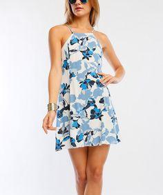 Look at this #zulilyfind! White & Blue Floral A-Line Dress #zulilyfinds