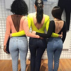 The girls from our London store in the new Double V Bodysuits and denim. #AAEmployees #AADenim #AmericanApparel
