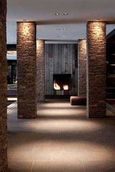 Marcel Wolterinck - Brick column down-lighters Arch Interior, Interior Lighting, Lighting Design, Column Lights, Pillar Lights, Arch Light, Wall Design, House Design, Brick Columns