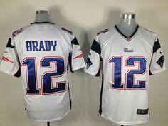 Men's NFL New England Patriots #12 Brady White Game Jersey