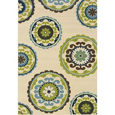 @Overstock - This bold floral design indoor/outdoor area rug will make your outdoor spaces feel more like home and features shades of Ivory, green, brown and blue. This durable polypropylene rug will endure the elements and continue to look great for many years.http://www.overstock.com/Home-Garden/Ivory-Green-Outdoor-Area-Rug-53-x-76/6233333/product.html?CID=214117 $87.29