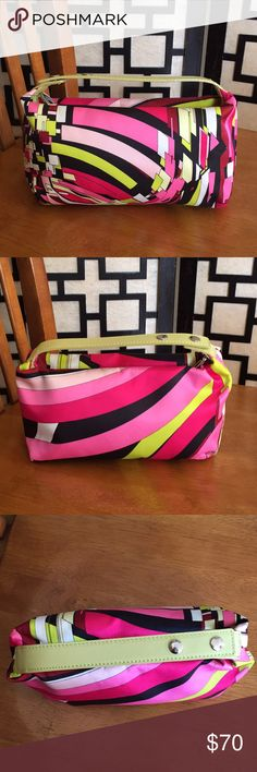 Emilio Pucci silk mini purse with leather trim Beautiful bag, looks like new. No stains or marks anywhere. Strap unsnaps for easy access to zipper. Emilio Pucci Bags Mini Bags