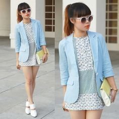 Zero Uv Sunglasses, Uniqlo Dip Suno Sleeveless Blouse, Charlotte Russe Chambray Linen Blazer, H Colorblock Clutch, Choies Clear Wedged Cut Out Booties