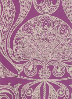 Malabar Wallpaper Cream on purple Indian paisley design wallpaper