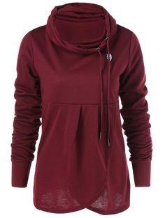 Pullover Cowl Collar Sweatshirt in Wine Red | Sammydress.com