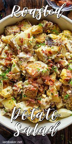 THE BEST Potato Salad you will ever try! potato al horno asadas fritas recetas diet diet plan diet recipes recipes Roasted Potato Salads, Warm Potato Salads, Salad With Sweet Potato, Roasted Potatoes, Potato Salad Recipe With Russet Potatoes, Roasted Potato Soup Recipe, Potato Salad Bacon, Curry Potato Salad Recipe, Recipes With Potatoes
