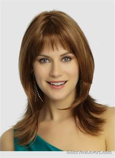 COM, you can find the best synthetic wigs America. We also have synthetic lace front wigs. To your surprise, our synthetic wigs cheap and have high quality, come and get them right now! Shoulder Length Hair Styles For Women, Medium Hair Styles For Women, Bangs With Medium Hair, Wigs With Bangs, Hairstyles With Bangs, Straight Hairstyles, Choppy Haircuts, Full Bangs, Asian Hairstyles