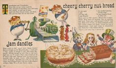 """Jam Dandies & Cheery Cherry Nut Bread from Betty Crocker's """"Bake Up A Story"""", a cooks tour through storyland. Approx. ca. 1950s-1960s."""