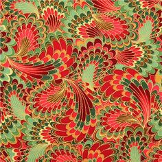 red and green wings fabric Timeless Treasures Palazzo Peacock 2