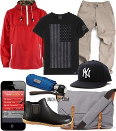 Obey Basin Pullover Red Jacket ($150). Yankees Baseball Cap ($35). Outlier 60/30 Khakis ($TBA). Davek Traveler Umbrella ($80). Ally Capellino's waxed-cotton messenger bag ($360). Tretorn Arsta 120 Ar Rain Boots ($75). Nike USA T-Shirt ($26). Next Bus App (£1.99).    MORESTYLEGARB