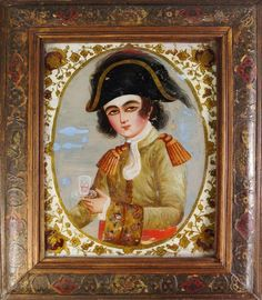 A Qajar reverse glass painting of a youthful prince, Iran, 19th century, shown dressed in the European style, holding a glass of wine in his hand, in a contemporary lacquered wood frame painted with flowers and portraits within cartouches, 38 x 31cm. - Price Estimate: £1000 - £1500