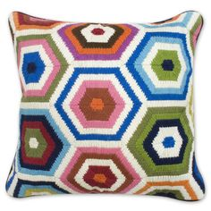 Modern Throw Pillows | Multi Honeycomb Bargello Decorative Throw Pillow | Jonathan Adler