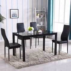 5 Piece Dining Table Set 4 Chairs Glass Metal Kitchen Room Breakfast Furniture in Home & Garden, Furniture, Dining Sets Glass Kitchen Tables, Glass Dining Table Set, Modern Dining Table, Dining Room Sets, Dining Table In Kitchen, Kitchen Chairs, Dining Room Design, Kitchen Sets, Kitchen Design