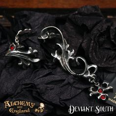 Alchemy Gothic E263 Sylvanus Stud Ear-Wrap (right)  Baroque, florid pewter ear-wrap, with Swarovski crystals and a surgical steel ear-post.