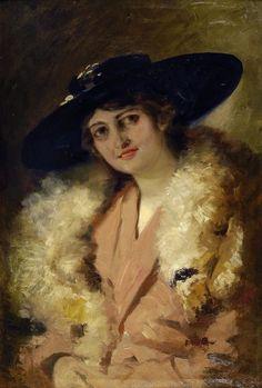 Corcos Vittorio : Dama con cappello nero  - Olio su tela - Asta Autori del XIX e XX sec. , Arredi e oggetti d'Antiquariato - II - Galleria Pananti - Casa d'Aste