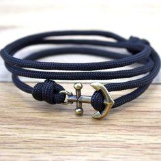 Anchor Paracord Nautical Bracelet in Black