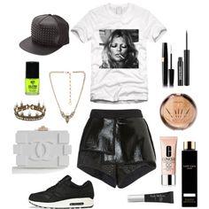 """blacksheepsummerinthecity"" by blacksheep39 on Polyvore #summeroutfit #citystyle #casual #comfy #nike #black #blackandwhite #neon"