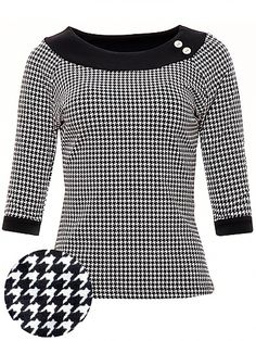 Rosa Top, houndstooth