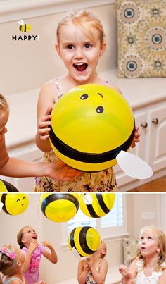 DIY Bumble Bee Balloons (Tutorial & Video) // Hostess with the Mostess® - birthday Baby Birthday, Birthday Party Themes, Bee Birthday Cake, Bumble Bee Cake, Bumble Bee Crafts, Bumble Bee Decorations, Bee Activities, Bee Cakes, Baby Shower Decorations
