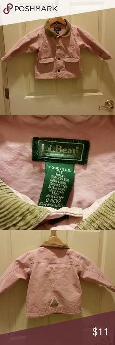 Ll bean pink jacket Ll bean pink jacket.  Tan corduroy collar. 3t L.L. Bean Jackets & Coats Jean Jackets