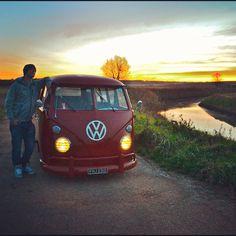 VW Camper, Volkswagen Type 2 Microbus. Splitscreen campervan. Me and Rusty posing in front of the sunset