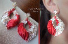 Earrings - Design by Serena Di Mercione  - Beadembroidery - Shibori silk, Swarovski, pearl