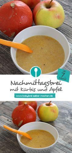 Nachmittagsbrei mit Gemüse und Obst: Ein fruchtiger Babybrei mit Kürbis und Apfel für Babys ab dem 7.Monat.