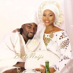"BN Weddings  on Instagram: ""Osas Ighodaro & Gbenro Ajibade's BN Celebrity Wedding!  Photo: #KunleHaastrup for #InsignaMedia & #BellaNaija Aso Oke: @molbaks_alasooke Jewelry: @lerevepieces Decor & Planner: @oakenevent Makeup: @DoranneBeauty See more on www.bellanaija.com/weddings !"""