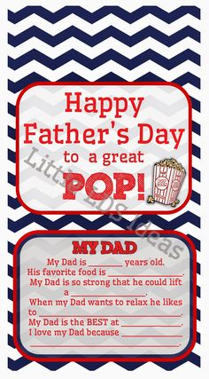 """Little LDS Ideas: {Father's Day} """"Great POP"""" Father's Day Popcorn Label"""