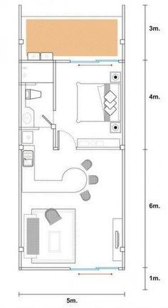 Planos de casas modernas de 1 dormitorio #hotel #hotel #planos Mini House Plans, Small House Plans, House Floor Plans, Apartment Layout, Apartment Plans, Apartment Design, Tyni House, Narrow House, Design Hotel
