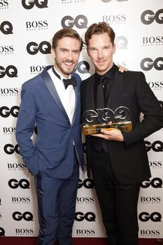 GQ MEN OF THE YEAR 2014 (September 2, 2014) ~ Benedict Cumberbatch (right) with Dan Stevens, who presented him with the British GQ Award for Actor of the Year.