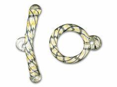 Borosilicate Topaz/Black Glass Twisted Toggle Clasp
