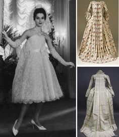 "1958 Wedding dress Christian Dior by Yves Saint Laurent and XVIII ""watteau"" dresses"