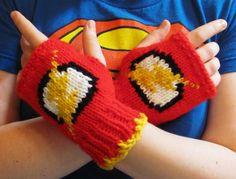 The Flash fingerless gloves knit DC comics Super Hero fan art ready to ship