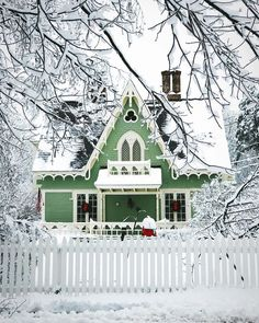Mint green cottage with white gingerbread trim and picket fence. Mint green cottage with white gingerbread trim and picket fence. The post Mint green cottage with white gingerbread trim and picket fence. Cozy Cottage, Cottage Homes, Cottage Style, Fairytale Cottage, Storybook Cottage, Blanc Shabby Chic, 3d Christmas, Christmas Pictures, Christmas Decorations