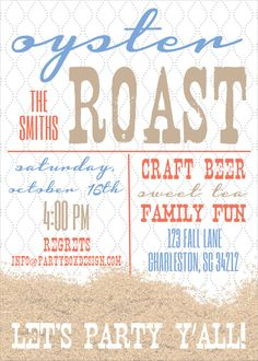 Engagement Oyster Roast Invitation Cute Idea Maybe Incorporate