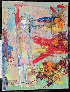 """'Sonya' is a painting of a blogger I enjoy very much.  this painting was made onto a 9"""" x 12"""" canvas wrapped board using acrylic paints, pencil crayons, pens, and markers."""