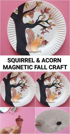 Magnetic Fall Craft - Squirrel and Acorn #fall #kidscrafts #craftsforkids #fallcrafts #autumn #autumncrafts #crafts #falldecor #stem #steam #acorn #squirrel