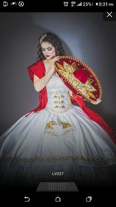 White and gold quince charro dress